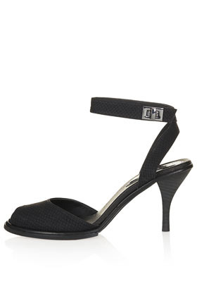 Nylon Two Part Mid Sandals - predominant colour: black; occasions: evening, occasion; material: leather; heel height: mid; ankle detail: ankle strap; heel: stiletto; toe: open toe/peeptoe; style: standard; finish: plain; pattern: animal print; season: s/s 2013