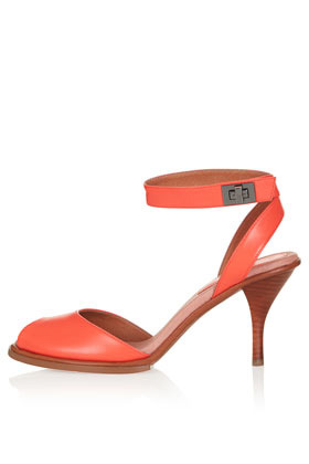 Nylon Two Part Mid Sandals - predominant colour: coral; occasions: casual, creative work; material: leather; heel height: mid; ankle detail: ankle strap; heel: stiletto; toe: open toe/peeptoe; style: standard; finish: plain; pattern: plain; season: s/s 2013