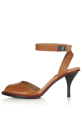 Nylon Two Part Mid Sandals - predominant colour: tan; occasions: casual, creative work; material: leather; heel height: mid; ankle detail: ankle strap; heel: stiletto; toe: open toe/peeptoe; style: standard; finish: plain; pattern: plain; season: s/s 2013
