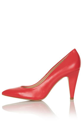 Gail Pointed Courts - predominant colour: true red; occasions: evening, work, occasion; material: leather; heel height: high; heel: stiletto; toe: pointed toe; style: courts; finish: plain; pattern: plain; season: s/s 2013