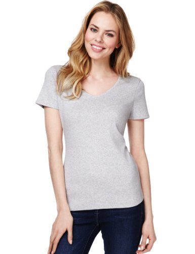M&S Collection Pure Cotton V Neck T Shirt With Stay New™ - neckline: v-neck; pattern: plain; style: t-shirt; predominant colour: light grey; occasions: casual; length: standard; fibres: cotton - 100%; fit: body skimming; sleeve length: short sleeve; sleeve style: standard; pattern type: fabric; texture group: jersey - stretchy/drapey; season: s/s 2013