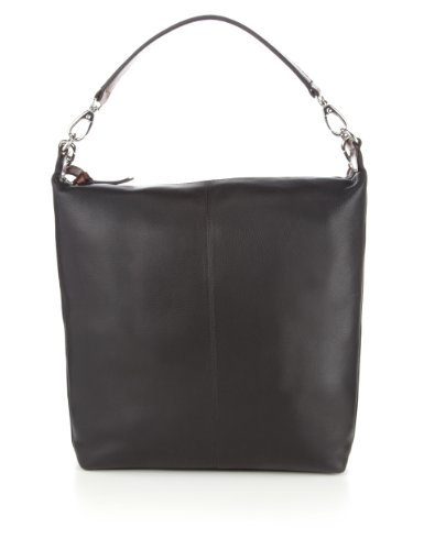 M&S Collection Leather Twin Strap Hobo Bag - secondary colour: chocolate brown; predominant colour: black; occasions: casual; type of pattern: standard; style: shoulder; length: shoulder (tucks under arm); size: oversized; material: leather; finish: plain; pattern: colourblock; season: s/s 2013