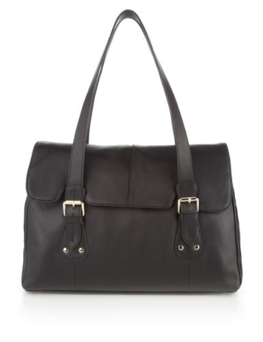 M&S Collection Leather Buckle & Stud Tote Bag - predominant colour: black; occasions: casual, work; style: tote; length: shoulder (tucks under arm); size: standard; material: leather; pattern: plain; finish: plain; season: s/s 2013