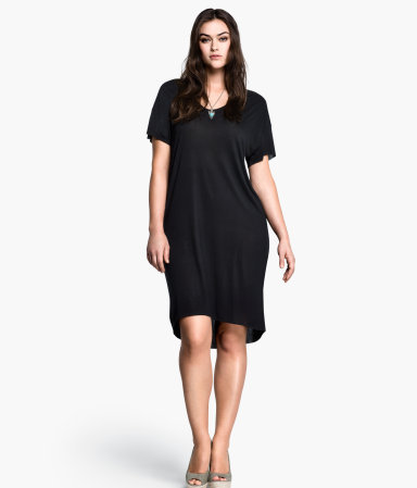 + Dress - style: t-shirt; sleeve style: dolman/batwing; fit: loose; pattern: plain; predominant colour: black; occasions: casual, holiday; length: just above the knee; neckline: scoop; fibres: viscose/rayon - 100%; hip detail: soft pleats at hip/draping at hip/flared at hip; back detail: longer hem at back than at front; sleeve length: short sleeve; pattern type: fabric; texture group: jersey - stretchy/drapey; season: s/s 2013