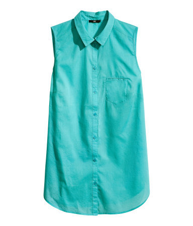 + Sleeveless Blouse - neckline: shirt collar/peter pan/zip with opening; pattern: plain; sleeve style: sleeveless; style: shirt; predominant colour: turquoise; occasions: casual; length: standard; fibres: cotton - 100%; fit: straight cut; sleeve length: sleeveless; texture group: cotton feel fabrics; pattern type: fabric; season: s/s 2013