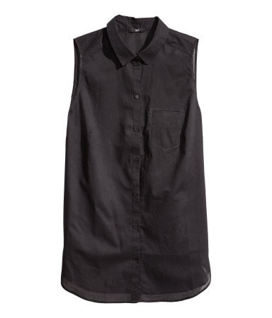 + Sleeveless Blouse - neckline: shirt collar/peter pan/zip with opening; pattern: plain; sleeve style: sleeveless; style: shirt; predominant colour: black; occasions: casual; length: standard; fibres: cotton - 100%; fit: straight cut; sleeve length: sleeveless; texture group: cotton feel fabrics; pattern type: fabric; season: s/s 2013