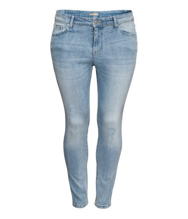 + Jeans - style: skinny leg; pattern: plain; pocket detail: traditional 5 pocket; waist: mid/regular rise; predominant colour: denim; occasions: casual; length: ankle length; fibres: cotton - stretch; jeans detail: shading down centre of thigh, washed/faded; texture group: denim; pattern type: fabric; season: s/s 2013