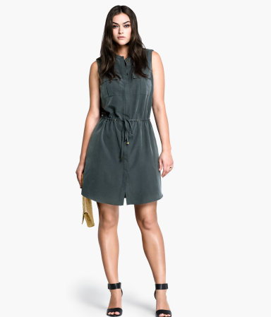 + Dress - style: shift; neckline: shirt collar/peter pan/zip with opening; fit: fitted at waist; pattern: plain; sleeve style: sleeveless; bust detail: pocket detail at bust; waist detail: belted waist/tie at waist/drawstring; predominant colour: charcoal; occasions: casual, creative work; length: just above the knee; fibres: polyester/polyamide - mix; hip detail: ruching/gathering at hip; shoulder detail: discreet epaulette; sleeve length: sleeveless; texture group: silky - light; pattern type: fabric; season: s/s 2013