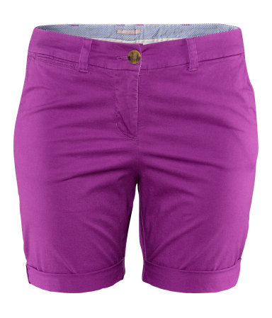 + Shorts - pattern: plain; pocket detail: small back pockets, pockets at the sides; waist: mid/regular rise; predominant colour: magenta; occasions: casual, holiday; fibres: cotton - stretch; texture group: cotton feel fabrics; pattern type: fabric; season: s/s 2013; style: shorts; length: mid thigh shorts; fit: slim leg; wardrobe: holiday