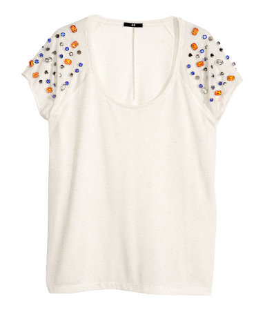 Top With Rivets And Sparkle - sleeve style: dolman/batwing; pattern: plain; predominant colour: white; secondary colour: bright orange; occasions: casual, evening, holiday; length: standard; style: top; neckline: scoop; fibres: polyester/polyamide - stretch; fit: loose; sleeve length: short sleeve; pattern type: fabric; texture group: jersey - stretchy/drapey; embellishment: jewels/stone; season: s/s 2013; wardrobe: highlight; embellishment location: shoulder
