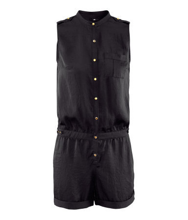 Jumpsuit - pattern: plain; sleeve style: sleeveless; neckline: high neck; length: short shorts; predominant colour: black; occasions: casual, evening, holiday; fit: body skimming; fibres: polyester/polyamide - 100%; shoulder detail: discreet epaulette; sleeve length: sleeveless; texture group: silky - light; style: playsuit; pattern type: fabric; season: s/s 2013