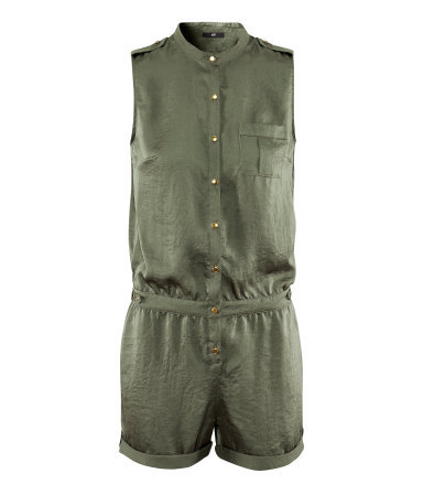 Jumpsuit - pattern: plain; sleeve style: sleeveless; neckline: high neck; length: short shorts; predominant colour: khaki; occasions: casual, holiday; fit: body skimming; fibres: polyester/polyamide - 100%; shoulder detail: discreet epaulette; jeans & bottoms detail: turn ups; sleeve length: sleeveless; texture group: silky - light; style: playsuit; pattern type: fabric; season: s/s 2013