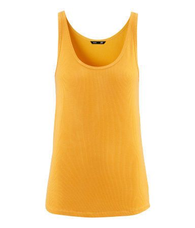 Ribbed Top - sleeve style: standard vest straps/shoulder straps; pattern: plain; waist detail: fitted waist; style: vest top; predominant colour: yellow; occasions: casual, work, holiday; length: standard; neckline: scoop; fibres: viscose/rayon - stretch; fit: body skimming; sleeve length: sleeveless; pattern type: fabric; texture group: jersey - stretchy/drapey; season: s/s 2013