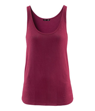 Ribbed Top - sleeve style: standard vest straps/shoulder straps; pattern: plain; waist detail: fitted waist; style: vest top; predominant colour: burgundy; occasions: casual, holiday; length: standard; neckline: scoop; fibres: viscose/rayon - stretch; fit: body skimming; sleeve length: sleeveless; pattern type: fabric; texture group: jersey - stretchy/drapey; season: s/s 2013