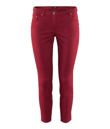Ankle Length Trousers - pattern: plain; pocket detail: traditional 5 pocket; waist: mid/regular rise; predominant colour: burgundy; occasions: casual, evening, holiday; length: ankle length; fibres: cotton - stretch; texture group: cotton feel fabrics; fit: skinny/tight leg; pattern type: fabric; style: standard; season: s/s 2013