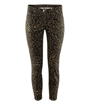 Ankle Length Trousers - style: skinny leg; pocket detail: traditional 5 pocket; waist: mid/regular rise; predominant colour: khaki; secondary colour: black; occasions: casual; length: ankle length; fibres: cotton - stretch; texture group: denim; pattern type: fabric; pattern: animal print; season: s/s 2013; pattern size: standard (bottom)