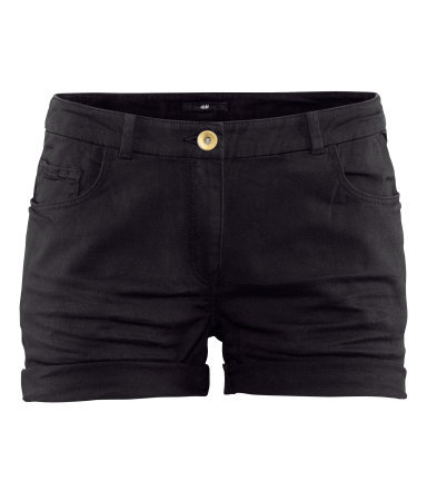 Short Twill Shorts - pattern: plain; pocket detail: traditional 5 pocket; waist: mid/regular rise; predominant colour: black; occasions: casual; fibres: cotton - stretch; texture group: denim; pattern type: fabric; season: s/s 2013; style: shorts; length: short shorts; fit: slim leg
