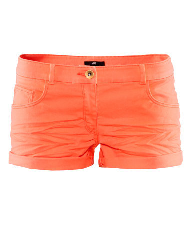 Short Twill Shorts - pattern: plain; pocket detail: traditional 5 pocket; waist: mid/regular rise; predominant colour: bright orange; occasions: casual; fibres: cotton - stretch; texture group: denim; pattern type: fabric; season: s/s 2013; style: shorts; length: short shorts; fit: slim leg