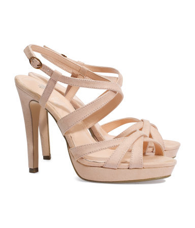 Sandals - predominant colour: nude; occasions: evening, occasion; material: fabric; heel height: high; heel: stiletto; toe: open toe/peeptoe; style: strappy; finish: plain; pattern: plain; shoe detail: platform; season: s/s 2013
