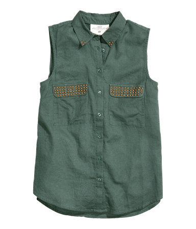 Sleeveless Blouse - neckline: shirt collar/peter pan/zip with opening; pattern: plain; sleeve style: sleeveless; bust detail: added detail/embellishment at bust; style: blouse; predominant colour: dark green; secondary colour: gold; occasions: casual, evening, work, holiday; length: standard; fibres: cotton - 100%; fit: straight cut; sleeve length: sleeveless; texture group: cotton feel fabrics; pattern type: fabric; embellishment: studs; season: s/s 2013