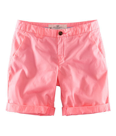 Shorts - pattern: plain; pocket detail: traditional 5 pocket; waist: mid/regular rise; predominant colour: coral; occasions: casual, holiday; fibres: cotton - stretch; texture group: cotton feel fabrics; pattern type: fabric; season: s/s 2013; style: shorts; length: mid thigh shorts; fit: slim leg