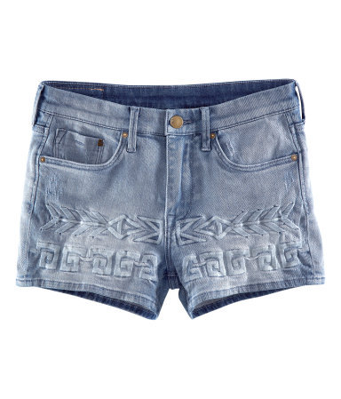 Denim Shorts - pattern: plain; pocket detail: traditional 5 pocket; waist: mid/regular rise; predominant colour: denim; occasions: casual, holiday; fibres: cotton - stretch; texture group: denim; pattern type: fabric; embellishment: embroidered; season: s/s 2013; style: denim; length: short shorts; fit: slim leg; wardrobe: holiday; embellishment location: hip