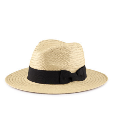 Straw Hat - predominant colour: ivory/cream; secondary colour: black; occasions: casual, holiday; type of pattern: standard; embellishment: ribbon; style: panama; size: standard; material: macrame/raffia/straw; pattern: plain; season: s/s 2013