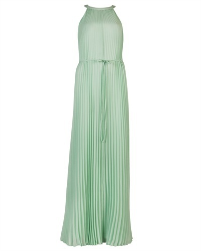 Ted Baker Kaddi Pleated Maxi Dress - fit: fitted at waist; pattern: plain; sleeve style: sleeveless; style: maxi dress; neckline: low halter neck; waist detail: belted waist/tie at waist/drawstring; predominant colour: pistachio; occasions: evening, occasion; length: floor length; fibres: polyester/polyamide - 100%; hip detail: structured pleats at hip; sleeve length: sleeveless; texture group: sheer fabrics/chiffon/organza etc.; bust detail: tiers/frills/bulky drapes/pleats; pattern type: fabric; season: s/s 2013
