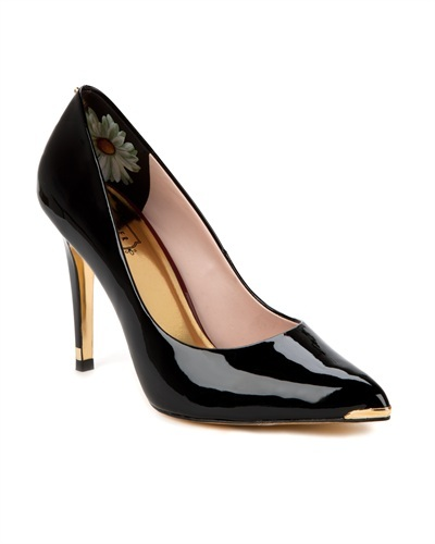 Ted Baker Neevo Pointed Court Shoe - secondary colour: gold; predominant colour: black; occasions: evening, work, occasion; material: leather; heel height: high; heel: stiletto; toe: pointed toe; style: courts; trends: metallics; finish: patent; pattern: plain; embellishment: chain/metal; season: s/s 2013