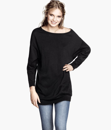 Fine Knit Jumper - neckline: slash/boat neckline; sleeve style: dolman/batwing; pattern: plain; length: below the bottom; style: tunic; hip detail: draws attention to hips; predominant colour: black; occasions: casual, work; fibres: cotton - 100%; fit: loose; waist detail: fitted waist; sleeve length: long sleeve; texture group: knits/crochet; pattern type: knitted - other; season: s/s 2013
