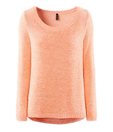 Jumper - neckline: round neck; pattern: plain; length: below the bottom; style: standard; predominant colour: coral; occasions: casual; fibres: acrylic - mix; fit: standard fit; hip detail: dip hem; sleeve length: long sleeve; sleeve style: standard; texture group: knits/crochet; pattern type: knitted - fine stitch; season: s/s 2013