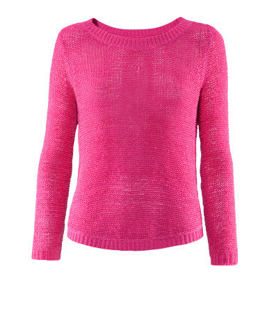 Jumper - pattern: plain; style: standard; occasions: casual; length: standard; fibres: acrylic - mix; fit: standard fit; neckline: crew; hip detail: dip hem; sleeve length: long sleeve; sleeve style: standard; texture group: knits/crochet; trends: fluorescent; pattern type: knitted - fine stitch; predominant colour: dusky pink; season: s/s 2013