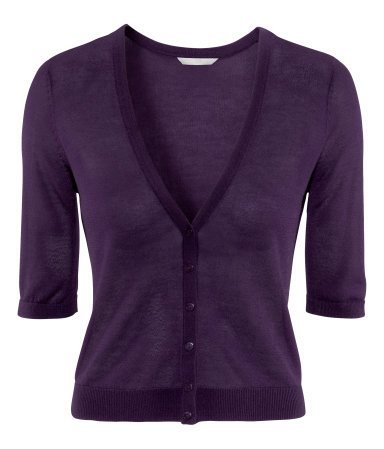 Cardigan - neckline: v-neck; pattern: plain; hip detail: draws attention to hips; bust detail: buttons at bust (in middle at breastbone)/zip detail at bust; predominant colour: aubergine; occasions: casual, evening, work, holiday; length: standard; style: standard; fibres: viscose/rayon - stretch; fit: slim fit; waist detail: fitted waist; sleeve length: half sleeve; sleeve style: standard; texture group: knits/crochet; pattern type: knitted - fine stitch; season: s/s 2013