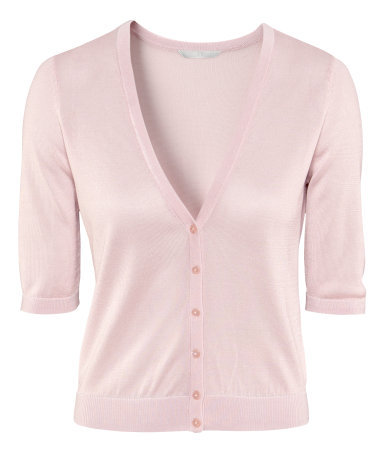 Cardigan - neckline: low v-neck; pattern: plain; hip detail: draws attention to hips; bust detail: buttons at bust (in middle at breastbone)/zip detail at bust; predominant colour: blush; occasions: casual, evening, work, holiday; length: standard; style: standard; fibres: viscose/rayon - stretch; fit: slim fit; waist detail: fitted waist; sleeve length: half sleeve; sleeve style: standard; texture group: knits/crochet; pattern type: knitted - fine stitch; season: s/s 2013