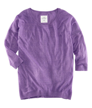 Jumper - neckline: round neck; pattern: plain; length: below the bottom; style: standard; predominant colour: purple; occasions: casual, work, holiday; fibres: linen - mix; fit: standard fit; sleeve length: 3/4 length; sleeve style: standard; pattern type: fabric; texture group: jersey - stretchy/drapey; season: s/s 2013; wardrobe: highlight