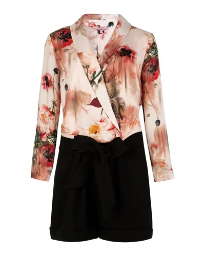 Ted Baker Jealow Opulent Bloom Playsuit - neckline: low v-neck; fit: fitted at waist; waist detail: belted waist/tie at waist/drawstring; length: short shorts; predominant colour: black; secondary colour: black; occasions: evening, work, holiday; fibres: polyester/polyamide - 100%; sleeve length: long sleeve; sleeve style: standard; style: playsuit; pattern type: fabric; pattern size: big & busy; pattern: florals; texture group: other - light to midweight; season: s/s 2013