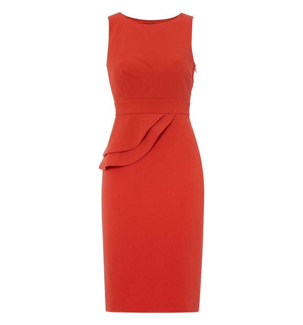 Avedon Dress, Orange - style: shift; neckline: round neck; fit: tailored/fitted; pattern: plain; sleeve style: sleeveless; waist detail: peplum waist detail; predominant colour: bright orange; occasions: evening, work, occasion; length: on the knee; fibres: polyester/polyamide - 100%; sleeve length: sleeveless; texture group: other - light to midweight; season: s/s 2013