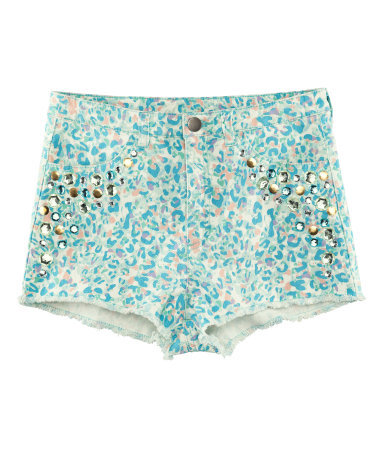 Shorts - waist: high rise; pocket detail: traditional 5 pocket; predominant colour: turquoise; secondary colour: nude; occasions: casual, holiday; fibres: cotton - stretch; texture group: denim; pattern type: fabric; pattern: animal print; embellishment: jewels/stone; season: s/s 2013; pattern size: standard (bottom); style: hot pants; length: short shorts; fit: skinny/tight leg; wardrobe: holiday; embellishment location: hip