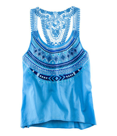 Top - sleeve style: standard vest straps/shoulder straps; bust detail: added detail/embellishment at bust; style: vest top; back detail: racer back/sports back; predominant colour: diva blue; occasions: casual; length: standard; neckline: scoop; fibres: cotton - 100%; fit: straight cut; sleeve length: sleeveless; texture group: cotton feel fabrics; pattern type: fabric; pattern: patterned/print; embellishment: embroidered; season: s/s 2013