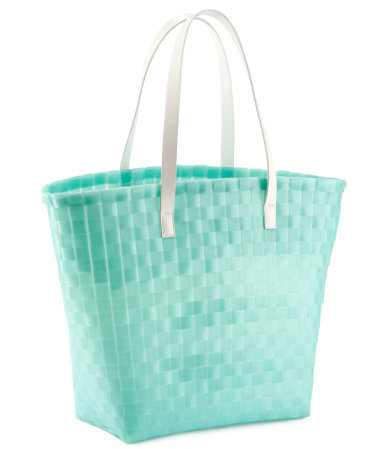 Beach Bag - secondary colour: white; predominant colour: mint green; occasions: casual, holiday; type of pattern: light; style: tote; length: handle; size: oversized; material: fabric; pattern: plain; trends: fluorescent; finish: plain; season: s/s 2013