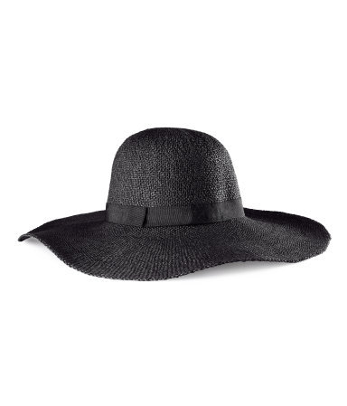 Straw Hat - predominant colour: black; occasions: casual, holiday; type of pattern: standard; embellishment: ribbon; style: sunhat; size: large; material: macrame/raffia/straw; pattern: plain; season: s/s 2013