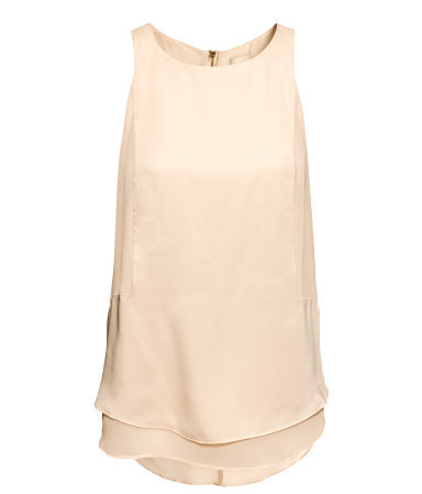Sleeveless Satin Top - pattern: plain; sleeve style: sleeveless; style: vest top; predominant colour: nude; occasions: casual, evening, occasion, holiday; length: standard; fibres: polyester/polyamide - 100%; fit: loose; neckline: crew; back detail: longer hem at back than at front; sleeve length: sleeveless; texture group: silky - light; hip detail: ruffles/tiers/tie detail at hip; pattern type: fabric; season: s/s 2013