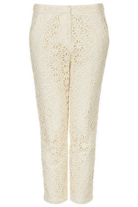 Floral Lace Trousers - waist detail: fitted waist; pocket detail: pockets at the sides; waist: mid/regular rise; predominant colour: ivory/cream; occasions: casual, evening, work, occasion, holiday; length: calf length; fibres: cotton - 100%; hip detail: fitted at hip (bottoms); texture group: lace; fit: slim leg; pattern type: fabric; pattern: patterned/print; style: standard; embellishment: lace; season: s/s 2013; pattern size: light/subtle (bottom)
