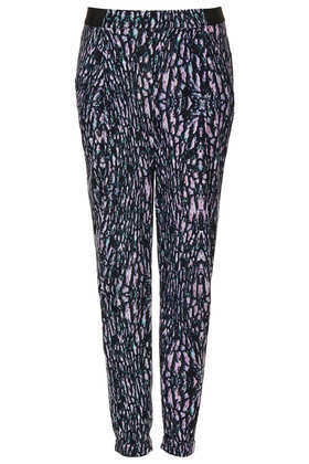 Marble Speckle Jersey Tapered Trousers - style: harem/slouch; waist detail: elasticated waist; pocket detail: pockets at the sides; waist: mid/regular rise; predominant colour: lilac; secondary colour: black; occasions: casual, evening, work, holiday; length: calf length; fibres: polyester/polyamide - stretch; hip detail: fitted at hip (bottoms); trends: statement prints, modern geometrics; fit: tapered; pattern type: fabric; pattern: patterned/print; texture group: jersey - stretchy/drapey; season: s/s 2013; pattern size: standard (bottom)