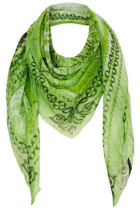 World Map Chiffon Scarf - predominant colour: lime; secondary colour: dark green; occasions: casual, evening, work, holiday; type of pattern: standard; style: square; size: large; trends: modern geometrics; material: tulle/sheer; pattern: patterned/print; season: s/s 2013
