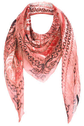 World Map Chiffon Scarf - secondary colour: burgundy; predominant colour: coral; occasions: casual, evening, work, holiday; type of pattern: standard; style: square; size: large; trends: modern geometrics; material: tulle/sheer; pattern: patterned/print; season: s/s 2013