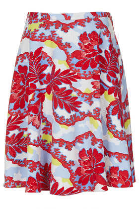 Portobello Print Calf Skater - fit: body skimming; hip detail: fitted at hip; waist: mid/regular rise; predominant colour: true red; secondary colour: pale blue; occasions: casual, evening, work, holiday; length: just above the knee; style: fit & flare; fibres: cotton - stretch; waist detail: narrow waistband; texture group: cotton feel fabrics; trends: high impact florals; pattern type: fabric; pattern: patterned/print; season: s/s 2013; pattern size: big & busy (bottom)