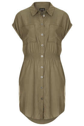 Casual Utility Shirtdress - style: shirt; neckline: shirt collar/peter pan/zip with opening; sleeve style: dolman/batwing; fit: fitted at waist; pattern: plain; waist detail: elasticated waist; bust detail: pocket detail at bust; predominant colour: khaki; occasions: casual; length: just above the knee; back detail: longer hem at back than at front; sleeve length: short sleeve; texture group: cotton feel fabrics; pattern type: fabric; fibres: viscose/rayon - mix; season: s/s 2013
