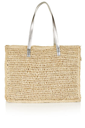 Large Paper Straw Shopper - predominant colour: camel; secondary colour: silver; occasions: casual, holiday; type of pattern: light; style: tote; length: handle; size: standard; material: macrame/raffia/straw; pattern: plain; trends: metallics; finish: plain; season: s/s 2013