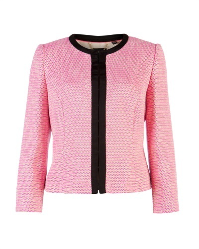 Ted Baker Adreena Cropped Collarless Jacket - style: cropped; collar: round collar/collarless; predominant colour: pink; secondary colour: black; occasions: casual, evening, work, occasion; fit: tailored/fitted; fibres: cotton - mix; sleeve length: 3/4 length; sleeve style: standard; collar break: high; pattern type: fabric; pattern size: light/subtle; pattern: colourblock; texture group: woven light midweight; season: s/s 2013; length: cropped